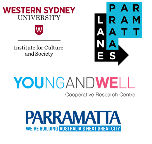 The logos of: Institute for Culture and Society, Western Sydney University; Parramatta Lanes; Young and Well Cooperative Research Centre; Parramatta: we're building Australia's next great city.