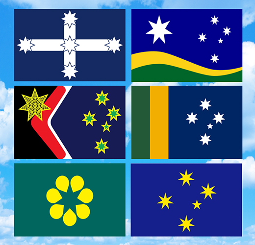Six flag designs places against a blue sky background. 1. A white cross design with a star on each point and one in the centre of the cross, placed against a blue background. 2. Six stars (one large) against a blue background with gold and green waves below it. 3. A black, red, white and blue design with gold and green stars and a gold star with black dots. 4. Green and gold vertical stripes on the left with five white stars against a blue background on the right. 5. Golden wattle emblem made up of seven gold petal shapes to form a flower against a green background. 6. Five gold stars against a blue background.