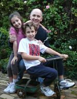 Dr Jonathan Vincent, Lecturer, School of Engineering and his two children