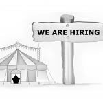 Circus tent with 'We are hiring' written on it