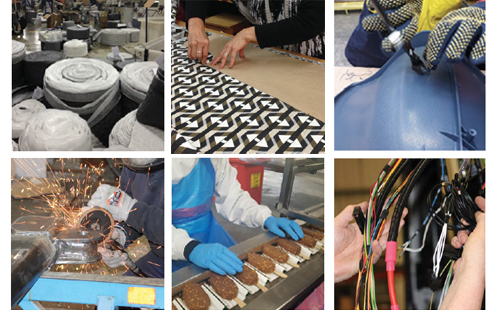 6 images of manufacturing products including electronics, food and furniture.