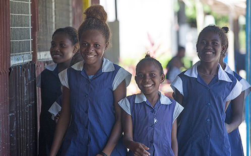 Girls at school in Solomon Islands (image: Plan International)