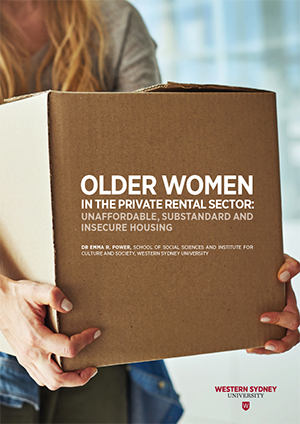 The cover of the Older Women in the Private Rental Sector report featuring an image of a woman holding a box