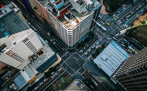 Birds-eye view of a city
