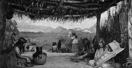 Caption: Diorama depicting Apache life in Arizona, Southwest Hall.