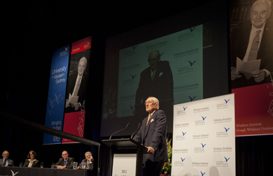 Malcolm Fraser delivering 2012 Gough Whitlam Oration