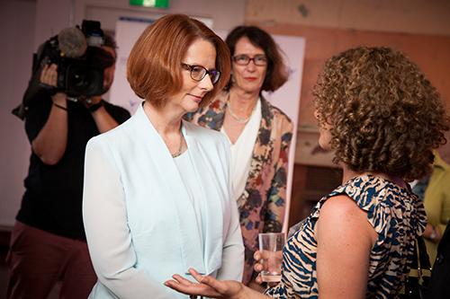 Dr Philippa Collin talking to Prime Minister Julia Gillard.