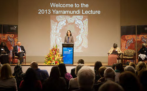 Vice ChancellorJanice Reid speaking at the 2013 Yarramundi Lecture