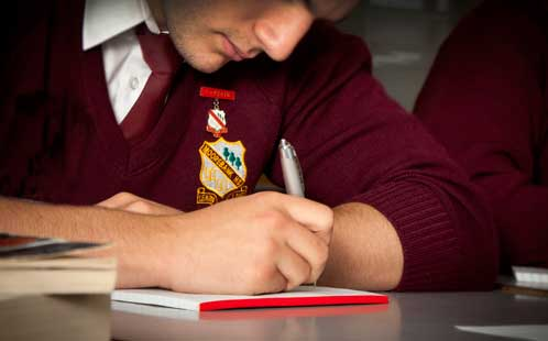 Student sits an exam
