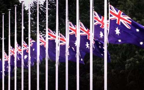 Australian flags half mast
