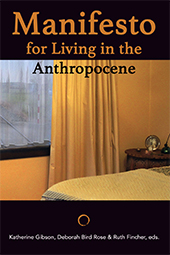 Cover of Manifesto for Living in the Anthropocene which shows an unmodern style bedroom - bed, bedside table and window. The walls, bed and curtains have a yellow tinge.