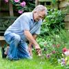An elderly man gardening