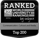 Black and white shield with the words QS World University Rankings by subject - Communication, Cultural and Media - Top 200.