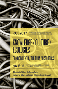 Cover of the KCE Conference program which has a black and white image of dried seaweed with the conference details in a yellow box placed over this image.