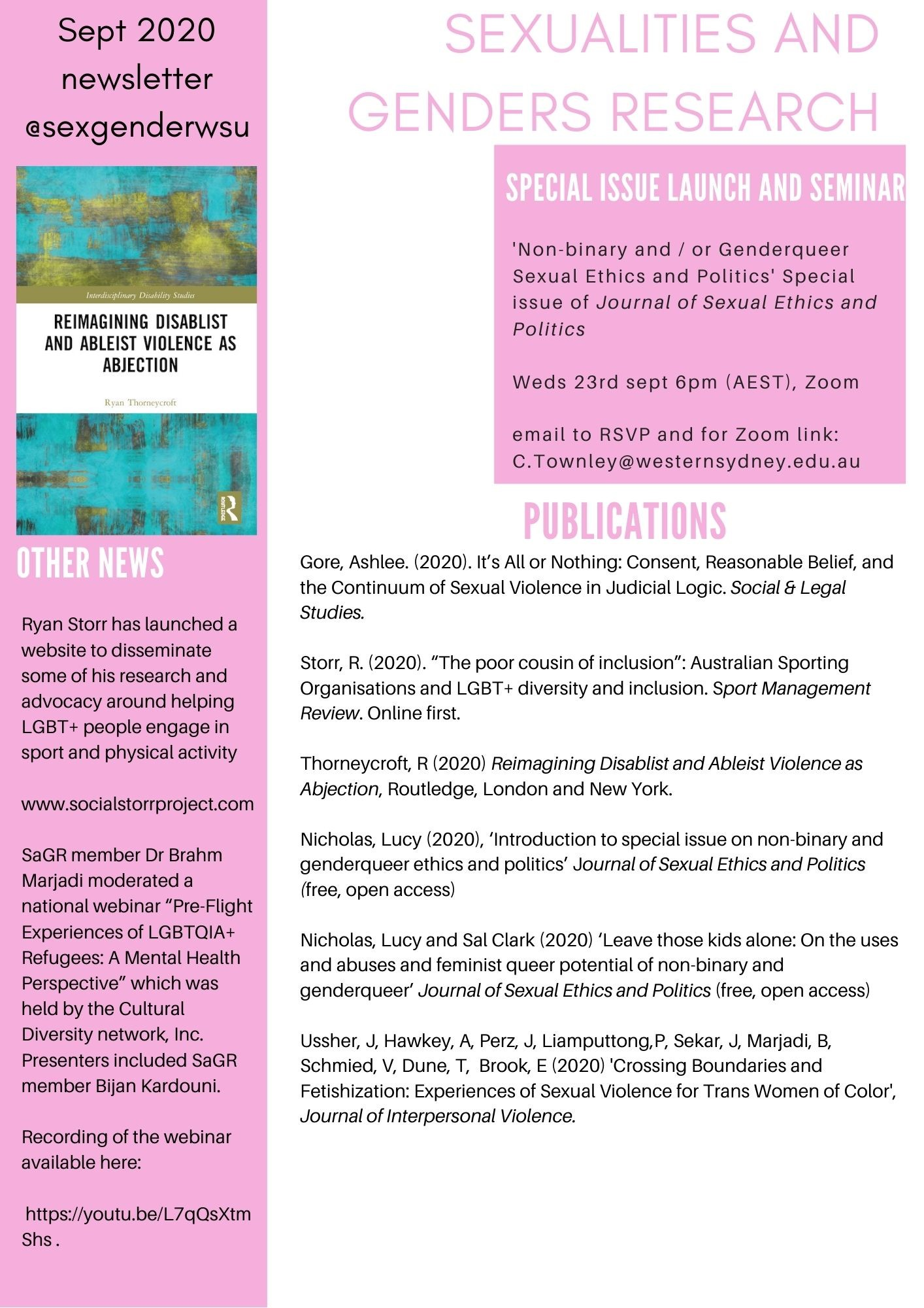 Sept 2020 SAGR Newsletter