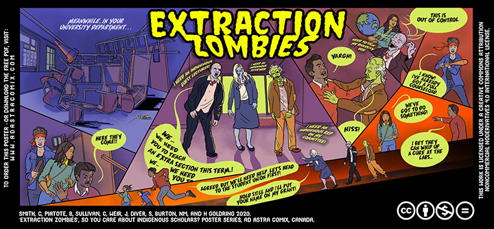 The Extraction Zombies poster illustrates Indigenous scholars facing zombie-like colleagues who chase them for roles such as 'Indigenous guest lecturer', 'Indigenous reviewer' and 'Indigenous rep on my committee'.