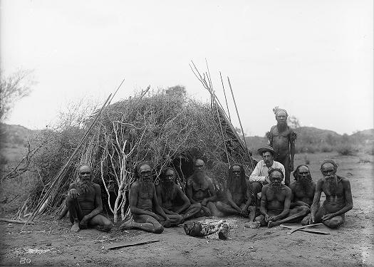 Baldwin Spencer seated with the Arrernte elders, Alice Springs, Central Australia, 1896