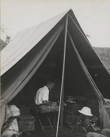 Michel Leiris typing the first report on the Dakar-Djibouti Mission, 13 May 1932.