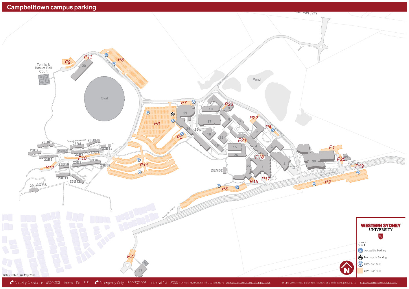 Campbelltown campus parking map