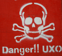 A white skull is painted over a red background with the words 'Danger!!'.