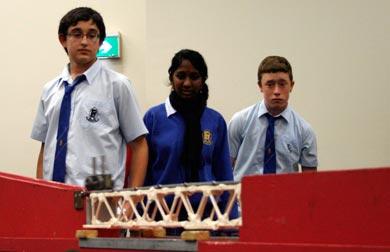 Penrith High School students test their bridge