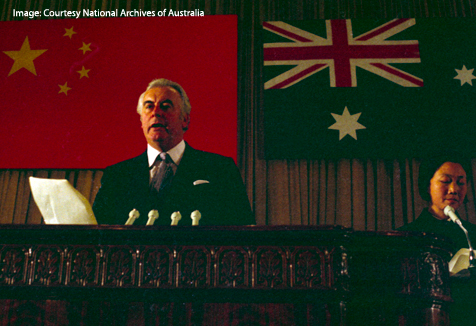 Gough Whitlam in China standing in front of national flags