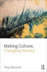 The cover of Making Culture, Changing Society. Features a yellow and green painted abstract image.