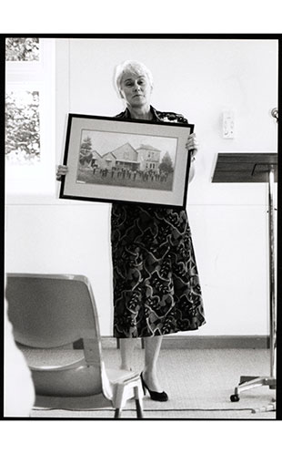 Official Opening of St Vincents Building (Westmead) - Prof. Jillian Maling holding framed photograph of St Vincents Boys Home, 1990 (Ref: P2183)