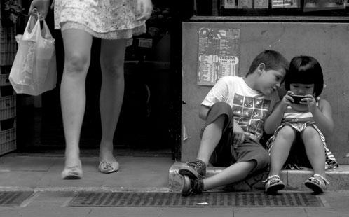 Children on phone