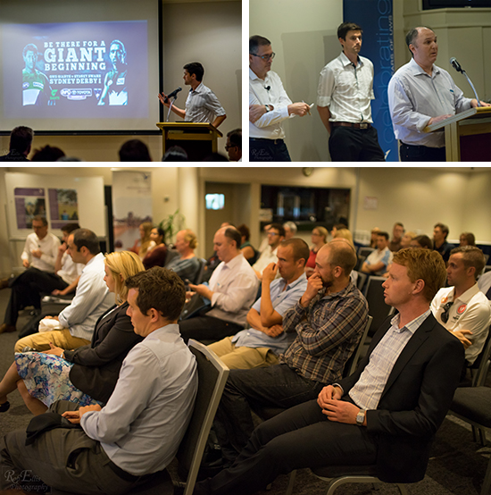 Three photos from This Sporting Life: Keith Parry presenting, Jorge Knijnik presenting with David and Keith in the background, and the audience watching the presentations.