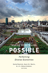 The cover of Making Other Worlds Possible which shows a rectangular garden area in the middle of a city with skyscrapers in the distance.