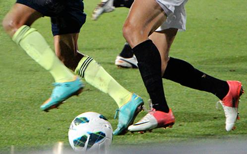 Football players and ball