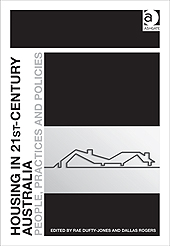 Black and white cover of Housing in the 21st Century Australia which has a black line drawing of a house on a white background.