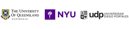 Colour UQ logo featuring a shield and scroll and the words 'The University of Queensland' and 'Australia'. Colour New York University logo featuring a torch and the acronym 'NYU'. Black and white UDP logo featuring a shield and the words 'UDP' and 'Universidad Diego Portales'.