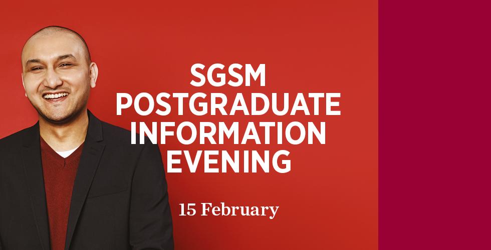 SGSM Postgraduate Information Evening