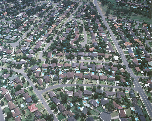 Aerial view of houses in suburbs