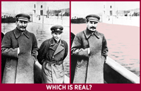 Two similar photos or people standing by a water body but one is missing a one of the people. Wording: which is real?