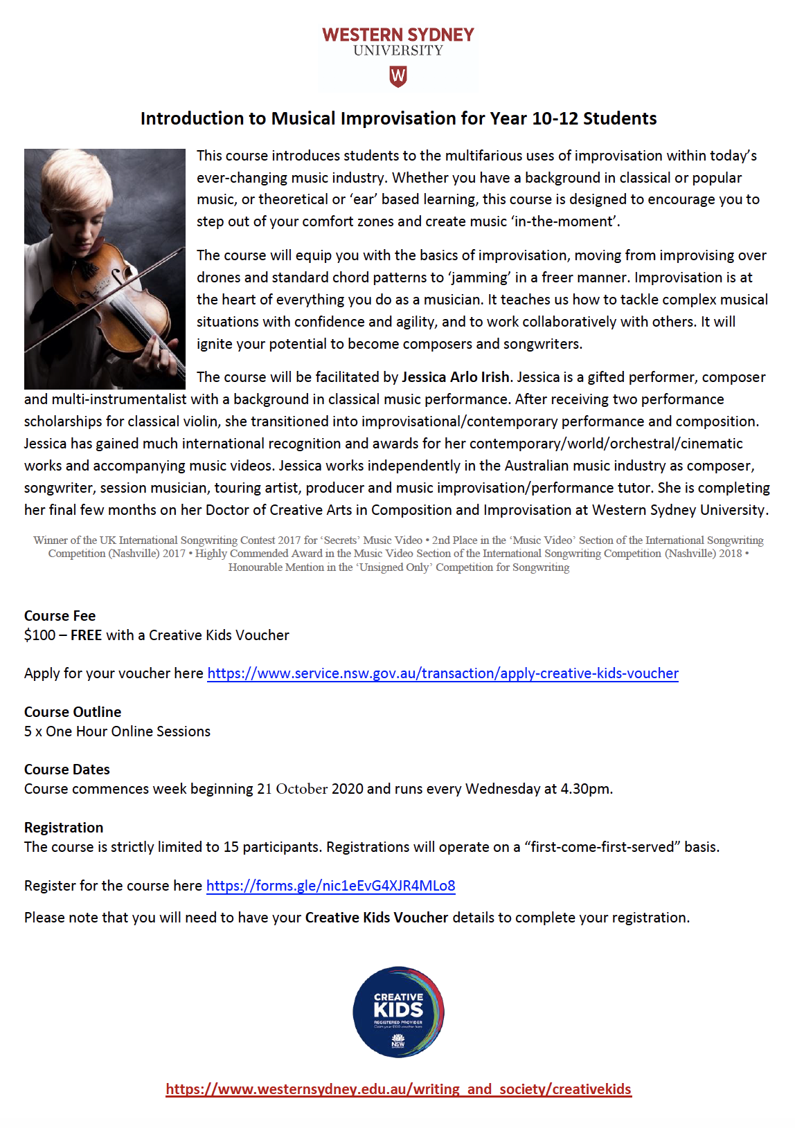 Introduction to Musical Improvisation for Year 10-12 Students