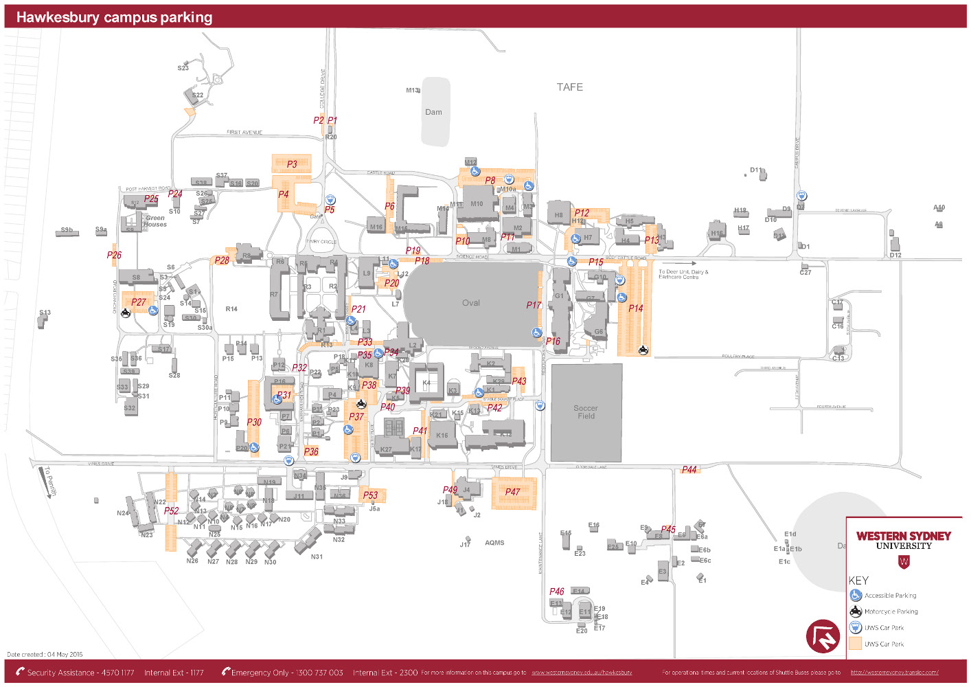 Hawkesbury campus parking map