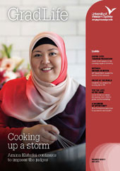 GradLife Magazine Cover May 2013. Female cooking.