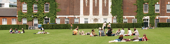 People sitting on the grass at Goldsmiths
