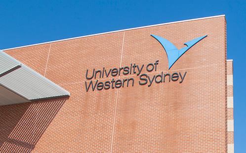 UWS logo on building