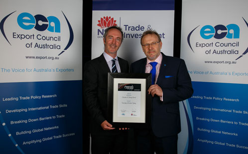 NSW Export award certificate