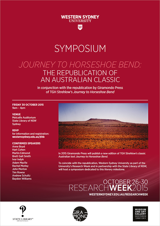 An image of the symposium flyer which has a red background and image of the Australian Outback.