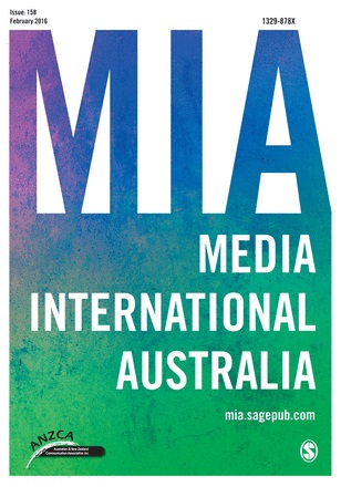 "Image of the cover of the February 2016 issue of the journal Media International Australia. The acronym 'MIA' and words ""Media International Australia' appear in large type against a white, blue and green background. The URL mia.sagepub.com appears in smaller type. In the logo of the Australia and New Zealand Communication Association is visible in the lower left hand corner. The logo of the publisher, SAGE, is visible in the lower right hand corner."
