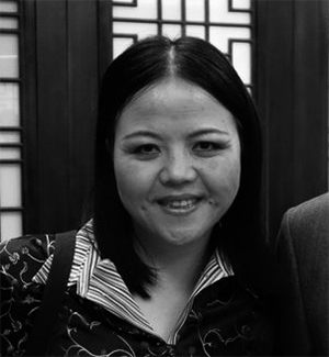 Black and white photo of Jing Han.