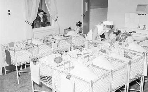 A crèche in a large metropolitan hospital, 1953.