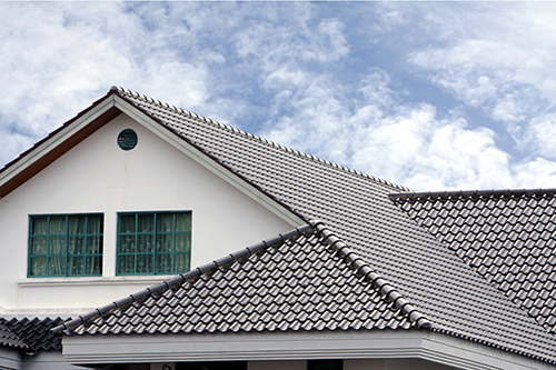 Grey roof with sky