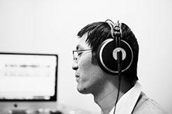 Student listening to headphones