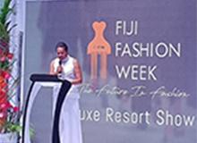 Woman speaking at Fiji Fashjion week